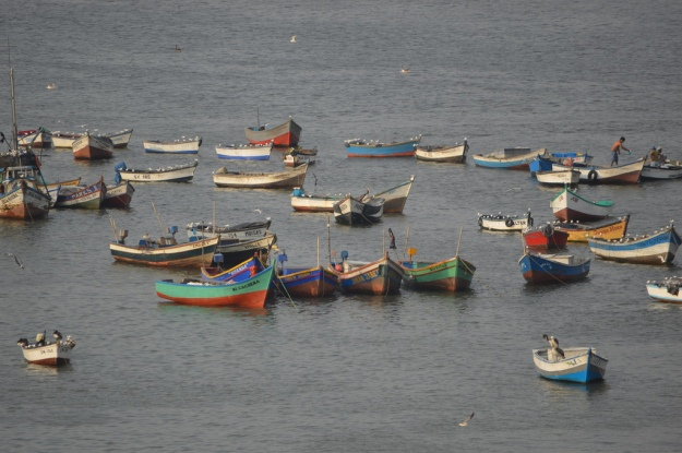 Small fishing boats in Peru