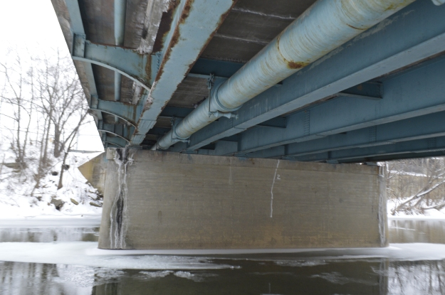 Under the bridge over the water